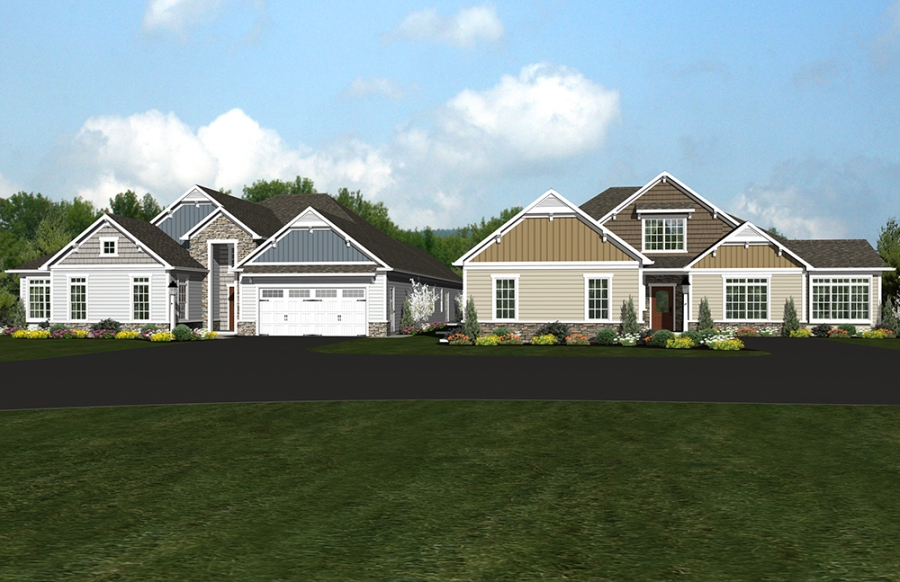 A rendering of the Appaloosa and Palomino carriage homes at the Village at Springbrook Farms