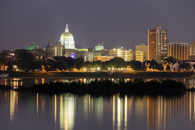 The Harrisburg State capitol in Pennsylvania from across the river.