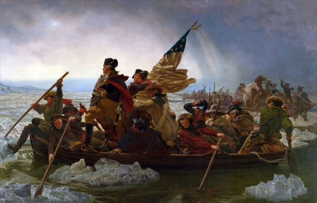 Painting of George Washington crossing the Delaware shows Washington standing in crowded rowboat with others rowing and uniformed man clutching the American flag