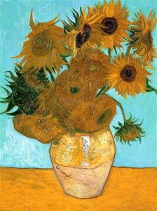 Still life of vase with twelve sunflowers on blue background, a painting by Van Gogh