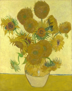 Still life of vase with twelve sunflowers on pale yellow background, a painting by Van Gogh