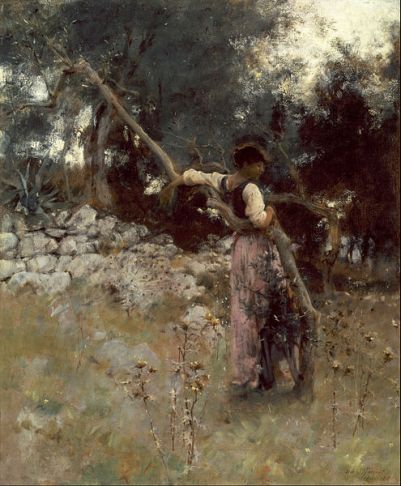 Woman in long shirt viewed from back. She is resting against a tree branch in a field of wild grasses and stones
