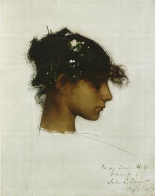 Profile head and-shoulders view of tawny-skinned girl with dark hair