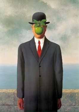 The Son of Man painting consists of a man in an overcoat and a bowler hat standing in front of a low wall, beyond which is the sea and a cloudy sky. A green apple hides the man's face.