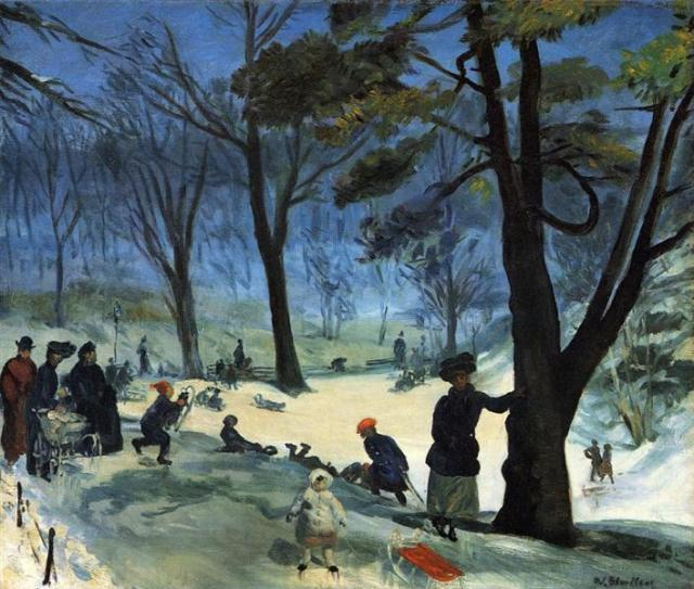 colorful painting of children sledding  with adults in old-fashioned clothing