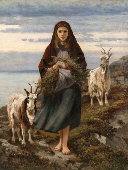 Connemara Girl painting by Augustus Nicholas Burke shows barefoot young girl in hooded cloak and skirt holding a bundle of grasses. On rugged hillside with sea behind, a billy goat on either side of her