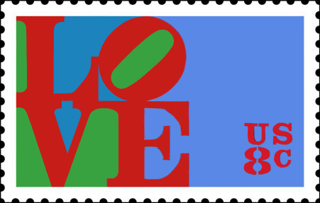 Colorful LOVE stamp consisting othe letters LO over the letters VE. Red letters on bright blue background with splashes of green as accent